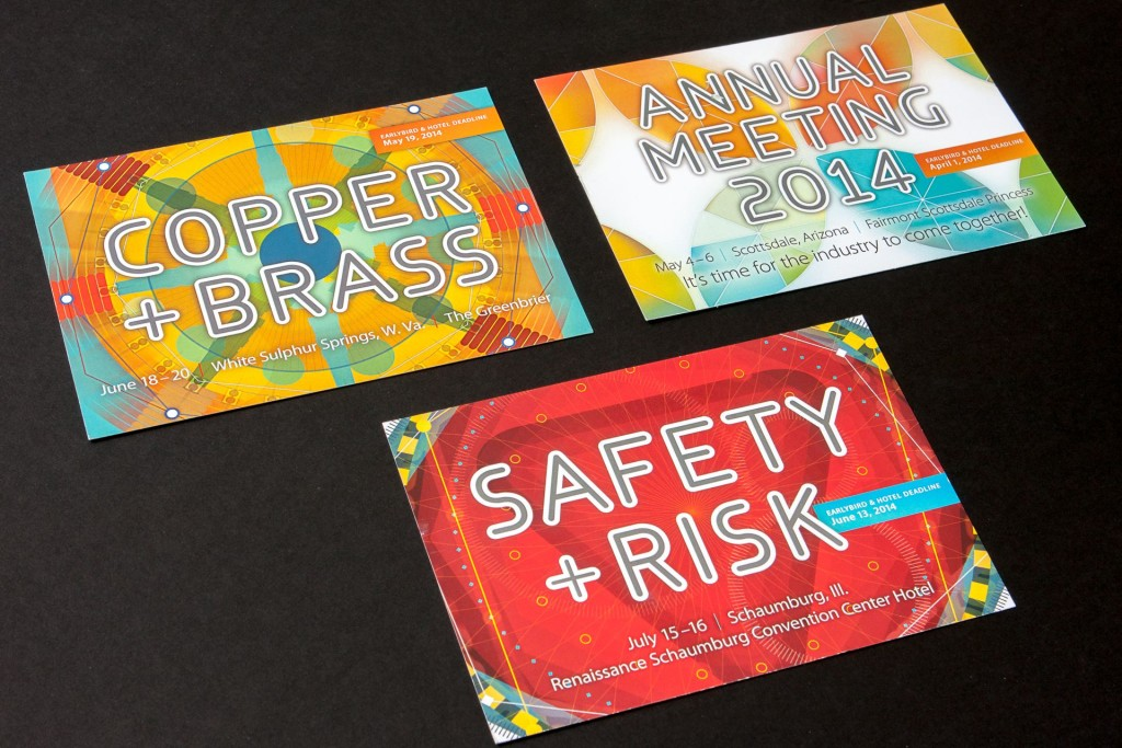 Postcards announcing upcoming conferences for MSCI